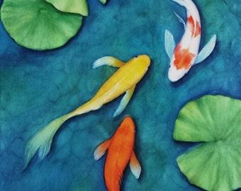 """Koi Ballet watercolor 11 X 14"""" print"""