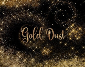 Gold Dust Clipart, Gold Glitter Clip Art, pixie dust, fairy dust glitter sparkle png files, gold dust overlays, gold star night sky download