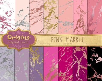 Pink Marble Digital Paper, 12x12 blush, rose gold, and fuschia marble textures, printable scrapbook paper digital instant download