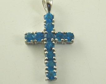 Cross pendant blue cubic zirconia sterling silver 1.61 grams
