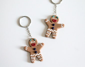 Gingerbread man fimo polymère key ring