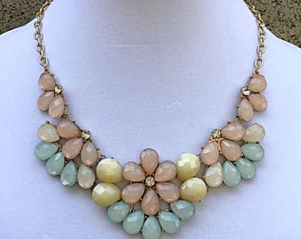 Mint, Peach, Yellow and Clear Crystal Statement Necklace with Gold Chain / Bridesmaid Bib Necklace.