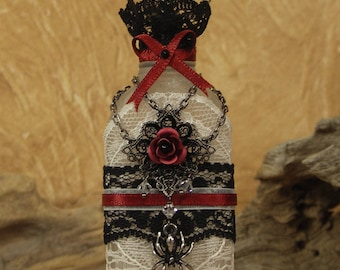 Secret Potion Bottle, Vintage Altered Art Bottle, Vampire Goth, Poison, Decorative bottle, Spider, Red Rose, Black Lace, Swarovski FGL-102