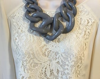 Grey Chunky Chain Lucite Link Grey Housewife Resin Statement Necklace Additional Colors Available
