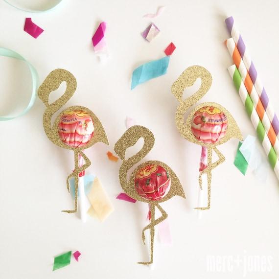 Glitter Flamingo Lollipop Chuppa Chup holders | Party Favor Gifts | Set of 8 | Lollipop Tag | Lollipop Gift