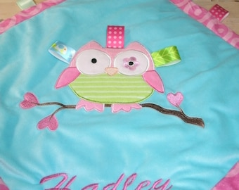 Owl Taggie Personalized  Animal Security Blanket Blankie 16 x 16.. Custom Made Any Name & Color EMBROIDERED