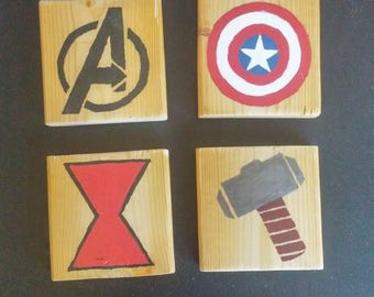 Hand Painted Marvel Coasters (Set of 4)