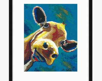 Colorful Cow art print from original cow on canvas painting, cow decor, farm animal art