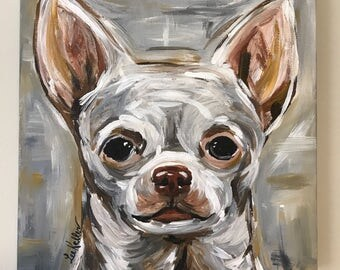Chihuahua Painting. Original Chihuahua Art, Chihuahua on stretched Canvas. Dog art in Neutrals