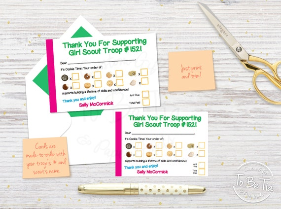 girl scout cookie thank you cards printable made to order