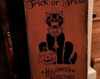 Trick or Treat | Vintage Look Sign | Halloween  Sign | Trick ir Treat Sign | Vintage  Sign | Vintage  Halloween| Primitive Halloween
