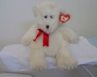 "Ty Classic Teddy Bear ""Dumpling"" Retired in 1995/All White With Red Satin Ribbon/New With Tags/15 Inches Tall/Beautiful & Fluffy!"