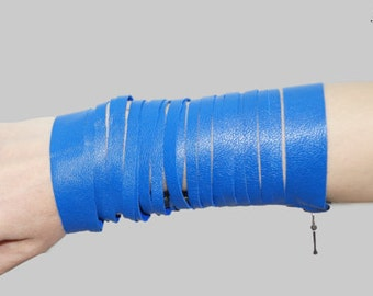Leather Bracelet /Zipper Bracelet/Gotic Bracelet/Genuine Leather Bracelett/BlueBracelett/F1087
