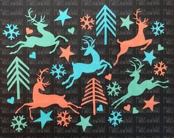 Reindeer leaping svg/png/dxf cricut/silhouette digital cutting file/reindeer svg/deer svg/christmas svg/stars svg/snowflake svg/winter/HTV