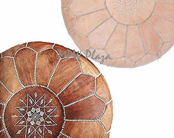 Sale- Set of 2 Moroccan Leather Poufs/Ottomans