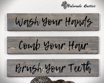 """Rustic Bathroom Art, Wash Brush Comb Sign, Distressed Wood, Bathroom Decor, Rustic Wood Signs, Wash Your Hands, Set of 3, 4"""" x 20"""""""