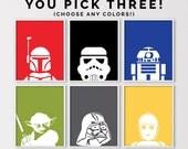Star Wars Wall Art, Minimal Star Wars Prints, Star Wars Nursery Printables, Star Wars Birthday Decor, Set of 3 8x10s, Digital Download