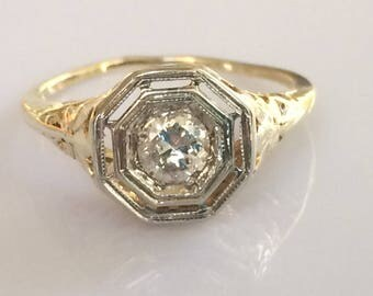 Edwardian .30ct European Cut Diamond Solitaire Ring in 14K Yellow and White Gold circa 1905