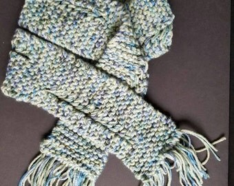 Seafoam Green and Blue Scarf w/ Detail