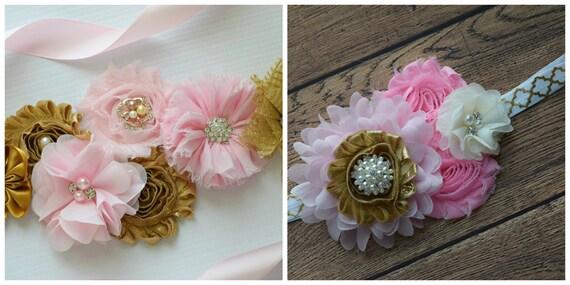 flower Sash and  headband set, gold pink Sash , flower Belt, maternity sash, flower sash