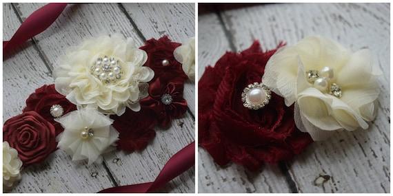 Maternity sash and 1 clip, Flower belt Sash, Burgundy  ivory sash , flower girl sash, wedding sash,flower Belt, maternity sash
