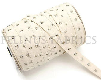Natural Undyed Cotton Grommet Tape with Nickel Grommets Eyelet Cotton Twill Tape Trim by the Yard ATN00242