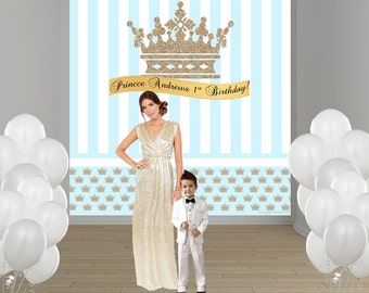 Little Prince Personalized Photo Backdrop - First Birthday Prince Party Backdrop- Custom Photo Backdrop - Welcome Prince