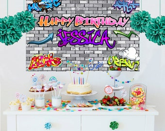Hip Hop Personalized Backdrop - Graffiti Cake Table Backdrop -Birthday Backdrop- 90's Birthday Backdrop - Custom Backdrop