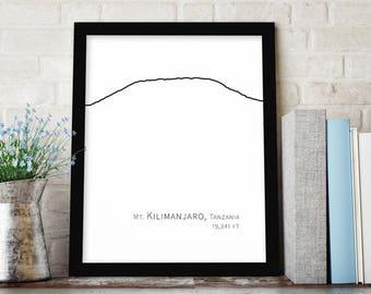 Kilimanjaro Mountain Wall Art, Minimalist Art, Mountain Wall Decor, Mountain Drawing, Mountain Printable Art Print, Instant Download Art
