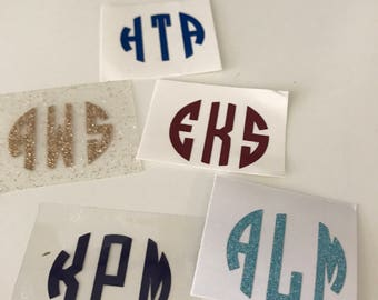 Decal Monogram Stickers (Choose from Regular or Glitter)