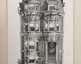 Sale 20% Off // Original Drawing San Francisco Victorian California St. 1973 Signed // Coupon Code SALE20