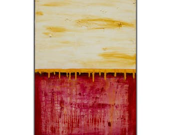 Original Red Abstract Painting on Canvas  , 39x27,  Modern Wall Art , Home Decor