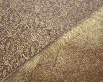 Silk Jacquard in Gold Lurex and Lavender, Apaprel Fabric By The Yard