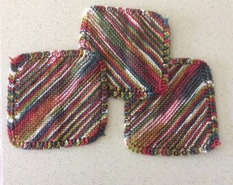 Knitted Wash Cloths (3 total)