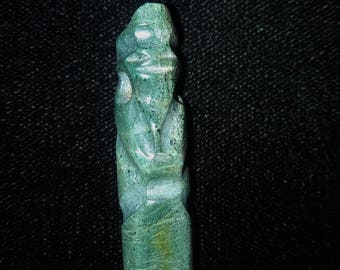Authentic Pre-Columbian Carved Green Stone Avian Pendant Bead