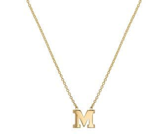 14k gold initial necklace. 14k gold letter necklace