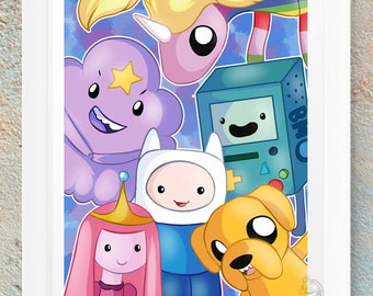 Adventure Time Finn Jake Lump Space Princess Rainicorn Princess Bubblegum Geeky Fan Art Print Gift Handmade Design Nerd Geek