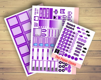 Mini Fitness Planner Sticker Kit - Purple Ombre - 028