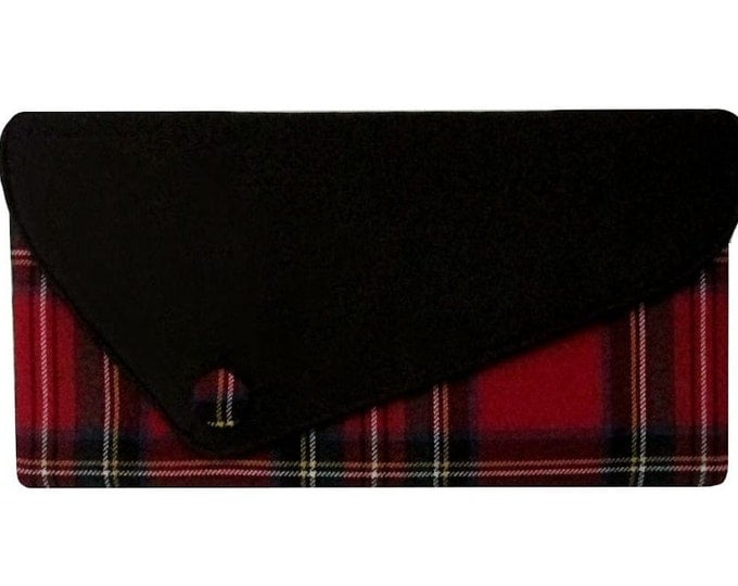 Royal Stewart Asymmetric Red Tartan & Black Satin Clutch Bag