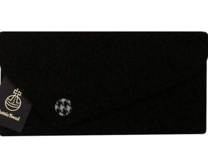 Harris Tweed Asymmetric Jet Black with Houndstooth Detail Clutch Bag