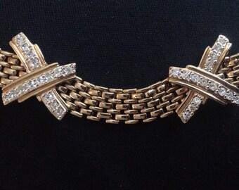 Vogue Bijoux Rhinestone X Necklace / Choker