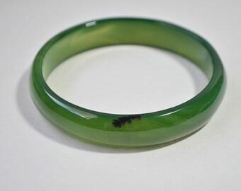 Vintage Natural Genuine Spinach Green Jade Agate Bangle Bracelet 70 mm