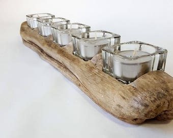 Driftwood Candle Holder, 5 Square Tea Light Candle Holders & Candles
