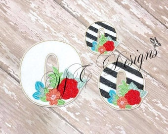 Floral Number Feltie Number Zero Feltie Embroidery File