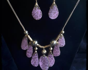 Handmade OOAK festive broken china pink and gold necklace and dangle  earrings
