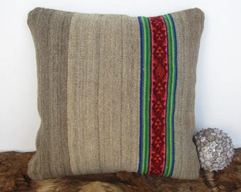 Grey pad, grey pillow, gift for opening House, waterproof pad, ethnic grey pillow, Peruvian. (18 x 18 in..) (45 x 45 cm) CR - 280