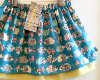 NEW! Organic baby skirt, girls skirt, orgnic skirt, cotton skirt, hedgehogs, baby gift, toddler skirt, toddler gift