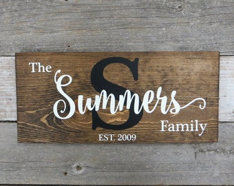 "Personalized Rustic Hand Painted Wood Sign, Family Name Sign, Monogram Sign, Established Date Sign, Last Name Sign - 16""x7.25"" or 20""x9.25"""