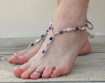Amethyst, seashell barefoot sandals, beach wedding sandals, hemp foot jewelry, barefoot jewelry, budget bride wedding shoes, bridesmaid gift
