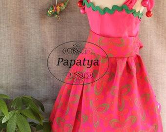 Hot pink girls dress, African inspired, Girls birthday dress, Toddler summer dress, Bright pink dress, Floral print dress